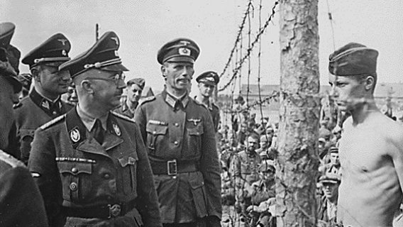 Himmler (left of photo in glasses) gloried in the extermination of the Jews
