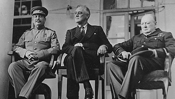 The first meeting of the 'Big Three' - Stalin, Roosevelt and Churchill