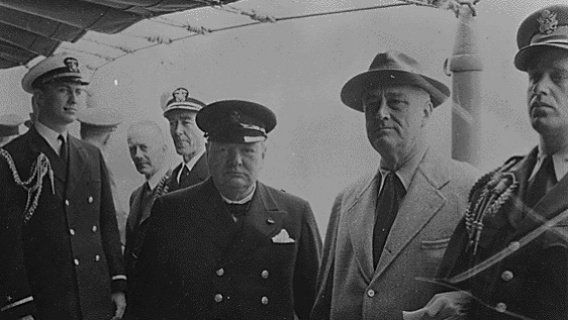 The first wartime meeting between Winston Churchill and Franklin Roosevelt