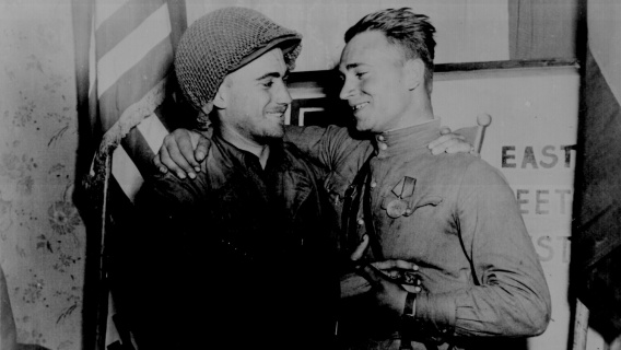 An American and Soviet Soldier
