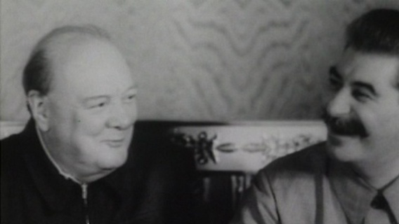 For the camera, Churchill and Stalin were the best of friends